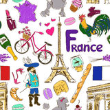 Sketch France seamless pattern Stock Images