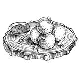 Sketch Fried mozzarella cheese balls on wooden board. Hand drawn cheese. Sketch Fried  cheese balls on wooden board. Hand drawn cheese. Italian Cuisine Royalty Free Stock Images