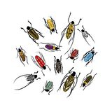 Sketch of funny colorful beetles for your design Royalty Free Stock Photo