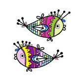 Sketch of funny fishes for your design Stock Photo
