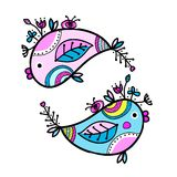 Sketch of funny fishes for your design Stock Images