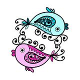 Sketch of funny fishes for your design Royalty Free Stock Images