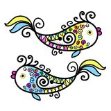 Sketch of funny fishes for your design Royalty Free Stock Photography
