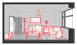 Sketch of furnished living  room diagram. Diagram of a single room furnished with hand drawn sketches of sofa, chair, table, cabinets, ceiling lamp, cloths Stock Image