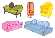 Sketch furniture Royalty Free Stock Image
