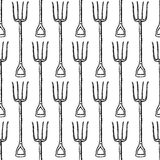 Sketch garden fork, vector  seamless pattern Stock Images