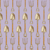 Sketch garden shovel and fork, vector  seamless pattern Stock Photography