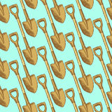 Sketch garden shovel, vector  seamless pattern Royalty Free Stock Photos