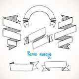 Sketch geometric ribbon banners - 2 Royalty Free Stock Images