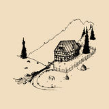 Sketch of german countryside homestead, peasants house in mountains. Vector hand drawn farm landscape illustration. Stock Images