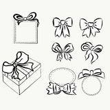 Sketch gift bows. Hand drawn graphic elements for your design. set bows and ribbons to decorate your text and postcards. Set of ribbons and bows for decorating Stock Photo