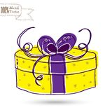 Sketch gift box with bow Stock Photography