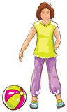 Sketch of girl with ball Stock Image