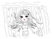 Sketch girl on beach Royalty Free Stock Images