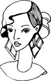 Sketch of a girl with beautiful earrings Royalty Free Stock Photos