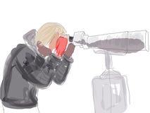 Sketch girl and binoculars Stock Image