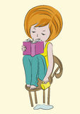 Sketch-girl-with-book-cup-color Stock Photography