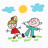 Sketch of girl and boy Stock Images