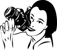 Sketch of a girl with a camera in hand Royalty Free Stock Image