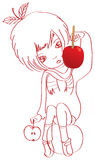 Sketch-girl-candy-apple Royalty Free Stock Images