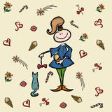 Sketch girl cartoon character Stock Images