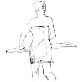 sketch a girl costs at an ironing board Stock Image
