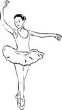 Sketch of a girl dancer dancing on pointe Stock Photo