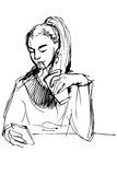 Sketch of a girl drinking through a straw and looking at phone Stock Photography