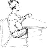 Sketch girl drinking tea at the table Stock Image