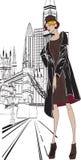Sketch girl Englishwoman Royalty Free Stock Photo