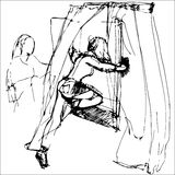 Sketch of a girl getting out through the window Royalty Free Stock Photos