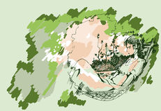 Sketch of a girl in a hammock Stock Image