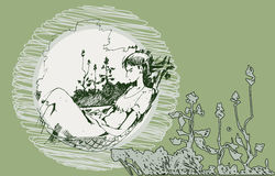 Sketch of a girl in a hammock. Sketch of a young girl who is reading a book in a hammock summer day Royalty Free Stock Photos