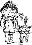 Sketch of a girl with her cat on a walk Stock Images
