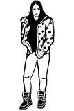 Sketch of a girl in a jacket and winter boots Royalty Free Stock Photography