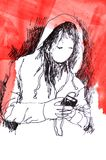 Sketch: girl with mobile phone Stock Photography
