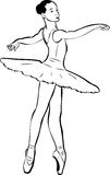 Sketch of girl's ballerina in tutu and pointe Stock Photography