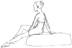 Sketch a girl sits on a stone sunbathes Stock Images