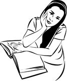 Sketch of a girl at a table in a book Stock Images