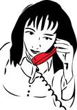 Sketch of a girl talking on the phone the red Royalty Free Stock Photo