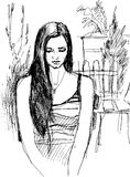 Sketch of girl walking garden Stock Images
