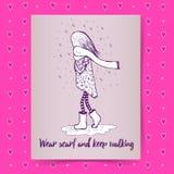 Sketch girl walking in rain Royalty Free Stock Photography