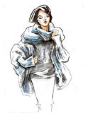 Sketch of girl wearing in winter clothes. Stock Photography