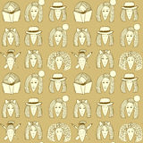 Sketch girls face pattern Royalty Free Stock Photo