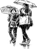 Sketch of the girls in the rain Royalty Free Stock Images