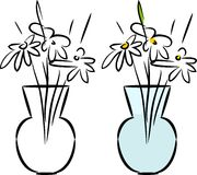Sketch of glass vase with daisies Stock Photos