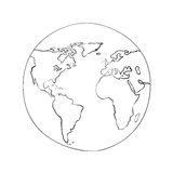 Sketch Globe World Map Black Vector Illustration Stock Photos