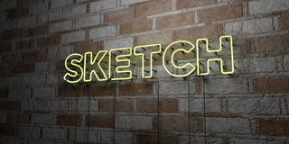 SKETCH - Glowing Neon Sign on stonework wall - 3D rendered royalty free stock illustration Stock Photography