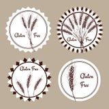 Sketch gluten free set of emblems Royalty Free Stock Photos