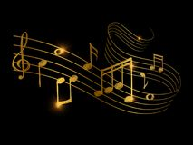 Sketch of golden musical sound wave with music notes. Vector illustration Royalty Free Stock Photos